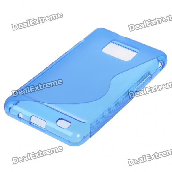 Protective Rubber Gel Silicone Back Case for i9100 Galaxy S2 - Translucent Blue