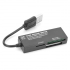 USB 2.0 Multi-in-One SD/M2/TF/MD/MS/MMC Card Reader - Black (Max. 16GB)
