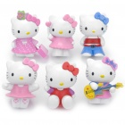 Cute Resin Hello Kitty Figure Toy Doll - Color Assorted (6-Piece Set)