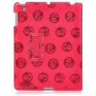 Protective Ultrathin Chinese Dragon Design PU Leather Cover Case for   Ipad 2 - Deep Red