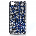 Stylish Shinning Protective PC Back Case for iPhone 4 - Blue Spiderweb