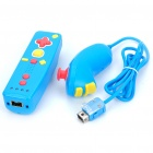 Mini Nunchuk Controller + Remote Controller with Motion Plus for Nintendo Wii - Blue