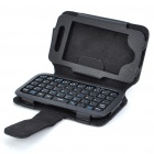 2.4GHz 49-Key Mini Rechargeable Bluetooth V2.0 Keyboard with PU Leather Case for Iphone 4 - Black