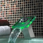 3-Color LED Digital Water Temperature Visualizer Chromed Waterfall Faucet Water-tap (4 x AA)