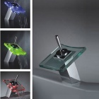 LED Color Changing Waterfall Bathroom Faucet (Chrome)