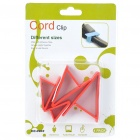 Triangle Wire Cord Cable Clip Organizer - Red (4 Piece Pack)