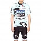 Saxo Bank Team Short Sleeve Bicycle Bike Riding Suit Sports Clothes Set (Size-L/168-176cm)