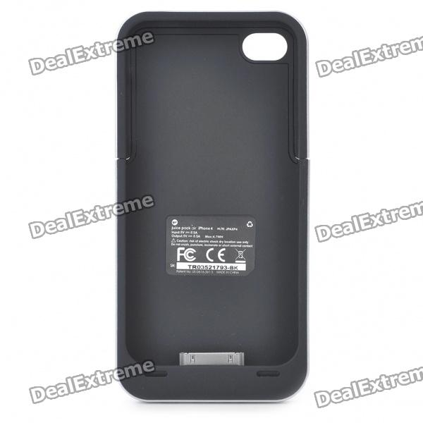 1500mAh Rechargeable External Battery Pack for iPhone 4 - Black