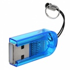 Smallest MicroSD TransFlash USB Card Reader with Cover - Blue