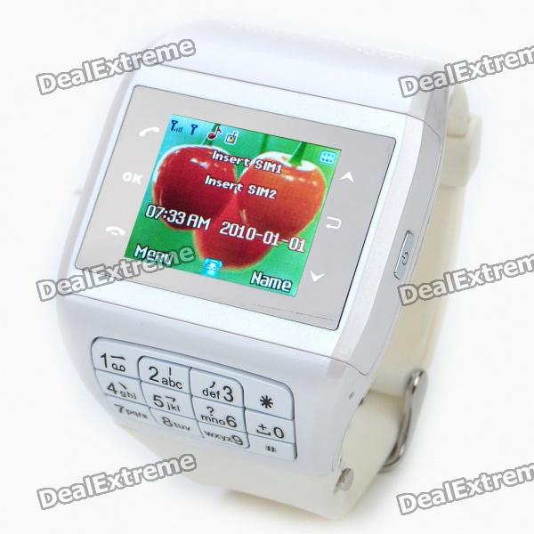 "1.3"" Touch Screen Wrist Watch Style Dual SIM Dual Network Standby Quadband GSM Cell Phone w/ Camera thumbnail"