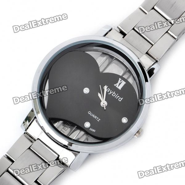 DayBird Heart Style Stainless Steel Quartz Wrist Watch - Silver + Black (1 x LR626) dts24f17 26je [ circular mil spec connectors dts 26c 26 20 skt re] mr li