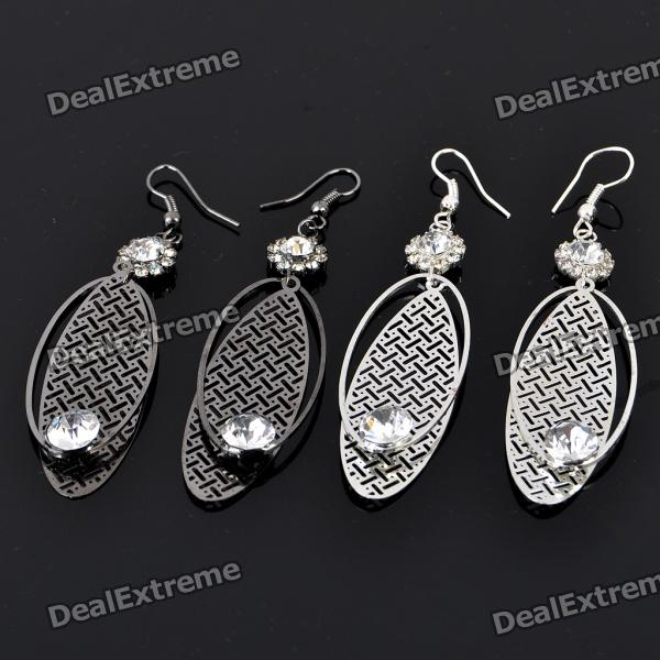 Elegant Aluminum Alloy Zircon Earrings - Oval (2-Pair/Color Assorted)