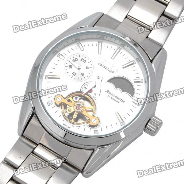 Stainless Steel Automatic Mechanical Waterproof Wrist Watch - Silver