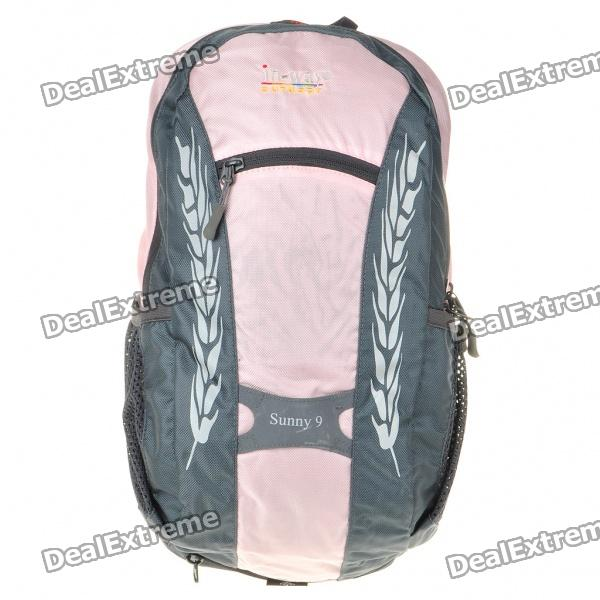 In-way Travel Backpack Double-Shoulder Bag w/ Water Bag Pocket + Whistle + Rainproof Cover - Pink striped travelling carrying bag for cats small