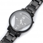 DayBird Triangle Style Stainless Steel Quartz Wrist Watch - Black (1 x LR626)