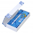 Elegant Blue and White Porcelain USB Flash Drive + Ballpoint Pen Set (8GB)