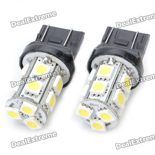 T20 2.6W 130LM 13x5050 SMD LED White Light Car Brake/Turning/Reverse Light Bulbs (Pair) s25 2w 180lm red led car brake turning reverse light bulbs pair dc 12v