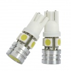 T10 4W 160LM 5x5050 SMD LED Car White Light Bulbs (Pair)