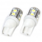 T10 0.8W 55LM 10x3020 SMD LED Car White Light Bulbs (Pair)