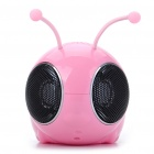 Cute Bee Shaped USB Rechargeable MP3 Music Speaker with FM/USB/TF/SD - Pink