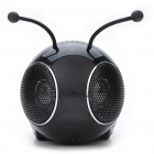 Cute Bee Shaped USB Rechargeable MP3 Music Speaker with FM/USB/TF/SD - Black
