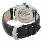 Stainless Steel Automatic Mechanical Waterproof Wrist Watch - Silver + Black + White