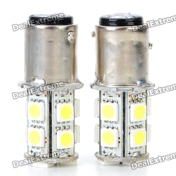 S25 2.6W 130LM 13x5050 SMD LED White Light Car Brake/Turning/Reverse Light Bulbs (Pair) s25 2w 180lm red led car brake turning reverse light bulbs pair dc 12v