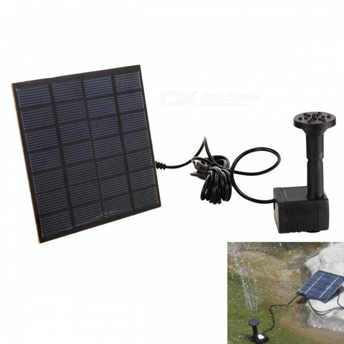 Solar Powered Panel Water Pump Pond Fountain Pool - Black