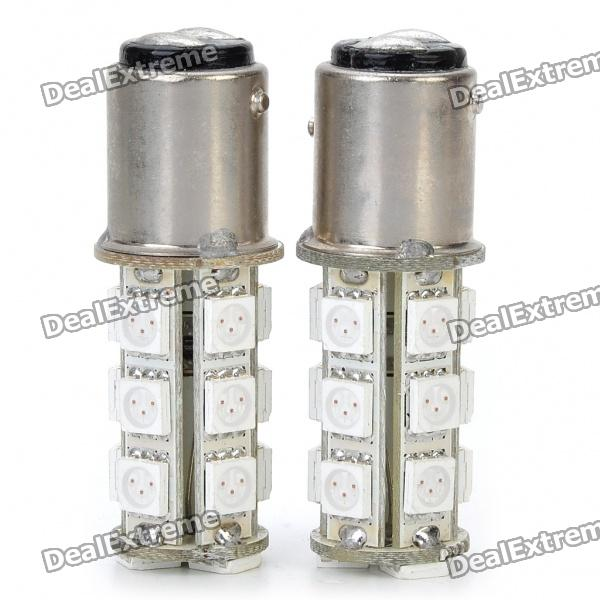 S25 3.6W 180LM 18x5050 SMD LED Red Light Car Brake/Turning/Reverse Light Bulbs (Pair) s25 2w 180lm red led car brake turning reverse light bulbs pair dc 12v