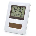 "Solar Powered 2.5"" LCD Multi-Function Clock w/ Perpetual Calendar/Alarm Clock/Thermometer (2 x LR44)"
