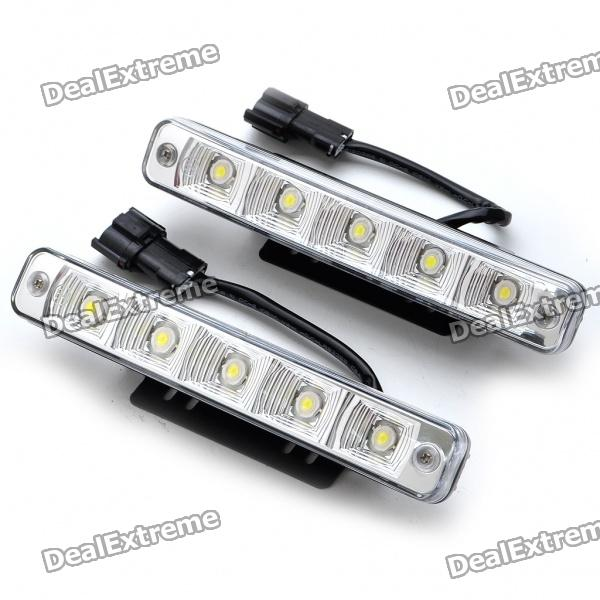 High Power 10W White 5-LED 360Lumen Daytime Running Light Lamp for Car (Pair/12~24V) led rear bumper warning lights car brake lamp cob running light for mitsubishi lancer ex 2008 16 one pair