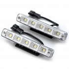 High Power 10W White 5-LED 360Lumen Daytime Running Light Lamp for Car (Pair/12~24V)