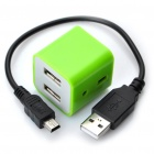 Fashion Compact High Speed USB 2.0 4-Port Hub - Green
