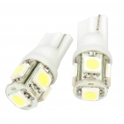 T10 2W 50LM 5-SMD LED Car White Light Bulbs - Pair (DC 12V)