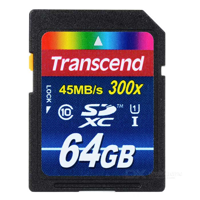Genuine Transcend SDXC SD Memory Card - 64GB (Class 10) - DXSD Card<br>Capacity: 64GB - 100% Genuine Transcend product - High-speed transfer performance - Complies with the Class 10 standard specified by the SD Association - Ideal upgrade for your digital cameras and camcorders<br>