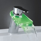 LED Color Changing Waterfall Bathroom Faucet (Duckbilled)