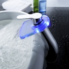 LED Color Changing Waterfall Bathroom Faucet (Tall)