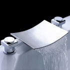Widespread Bathroom Sink Waterfall Faucet