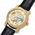 Stylish Leather Band Stainless Steel Mechanical Wrist Watch - Golden + Black