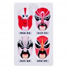 Cool Beijing Opera Facial Masks Style Card Style USB Flash Drive - White (4GB)