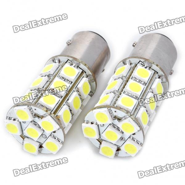 S25 5.4W 6000K 270LM 27x5050 SMD LED Car Brake/Turning/Reverse White Light Bulbs - Pair (DC 12V) s25 2w 180lm red led car brake turning reverse light bulbs pair dc 12v