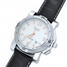 Stylish PU Leather Band Stainless Steel Mechanical Wrist Watch - Black + Silver