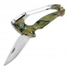 Camouflage Stainless Steel Flashlight + Knife + Compass Carabiner Clip