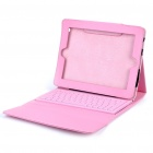 76-Key Wireless Bluetooth Keyboard with Folding Leather Case for iPad/iPad 2 (Pink)
