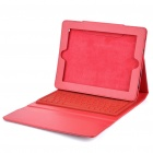 76-Key Wireless Bluetooth Keyboard with Folding Leather Case for iPad/iPad 2 (Red)