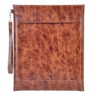 Cool Protective PU Leather Bag with Strap for Ipad 2 - Dark Brown