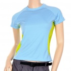 Fashion Women's Sun Protective Quick Dry Short Sleeve T-Shirt - Blue (Size S)
