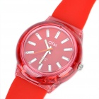 Fashion Sports Silikon Wasserdicht Quarz-Armbanduhr - Rot (1 x 377)