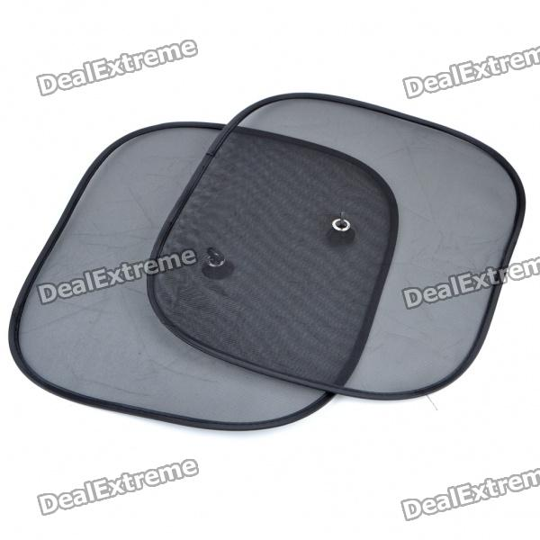 Foldable Car Mesh Sun Shades with Suction Cups - Black (44*36CM/2PCS)