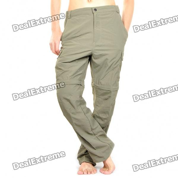 Outdoor Quick Dry Sun Protective Zip Off Pants - Army Green (Size L)